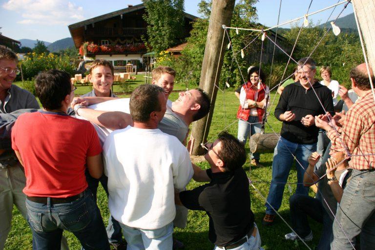 Eventlocation Hasenöhrl-Hof: Unser Hochseilgarten direkt am Hof eignet sich perfekt für Teambuilding.